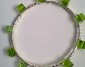 Green Glass Bead Wired Silver Bangle, Green Glass, Pretty Bracelet, Bright Green Bead Bangle, Summer Jewelry, Stackable Bracelet, Resort