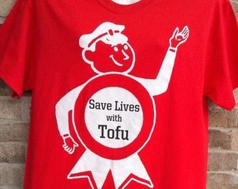"""The Vegan Vixens Tee Shirt """"Save Lives Tofu"""""""
