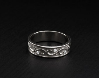 Vintage style wedding ring, Unique silver wedding band, Band for men for women, Wedding band sterling silver, Unique silver ring