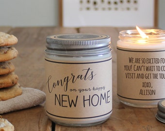Congrats on your Happy New Home Candle Gift - Scented Soy Candle Greeting - Housewarming Gift | Moving Gift | New Home Gift | Hostess Gift