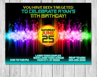 Laser Tag Invitation   Laser Lights   Laser Tag Birthday Party Invite   Laser Tag You've Been Targeted Birthday Invite   Printable Invite