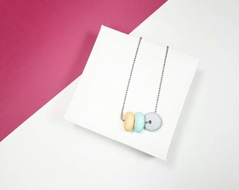 Peach necklace, Pastel mint necklace, Grey necklace, Colorful necklace, Layering necklace, Geek necklace, Chain necklace, Polymer necklace