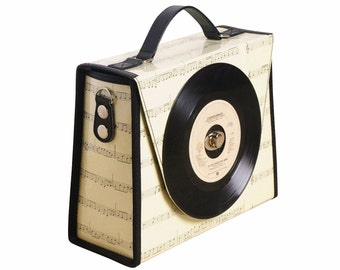 Vinyl record bag , FREE SHIPPING, fashion handbags, upcycled , Crossbody bag, Music lover bag , retro bag, vintage purse