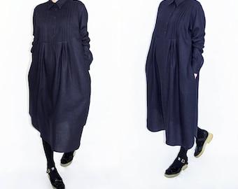 Blue Linen Dress, Linen shirt dress, Long pleated dress, Loose shirt dress, Long sleeve dress, Minimalist dress, Women linen shirt