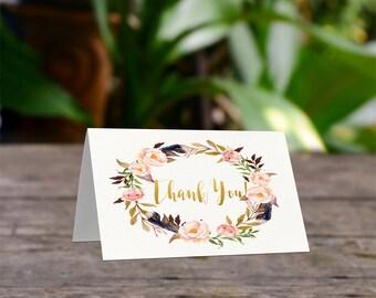 Boho Thank you cards, Printable thank you, Baby shower thanks, Bridal Shower,  Printable thanks card, Printable card, Thanks card, Bo-Ho