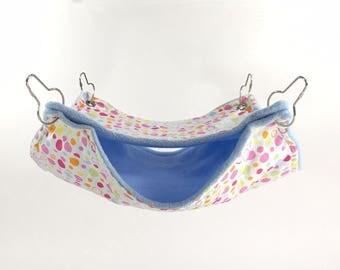 Rat Hammock, Candy floss blue double decker chinchilla cage hammock, fleece hammock, small nests, fleece ferret beds