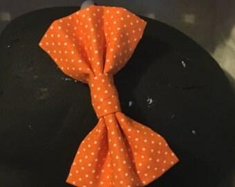 Orange with White Polka Dots Bow - Orange, white - Headband, Barrette, Hair Accessory