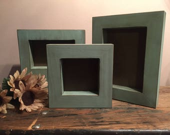 Rustic Aqua Blue Wooden 4x4 Frame, Distressed Wood Frame, Thick Self-Standing Picture Frame