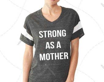 "Women - Girls - Premium Retail Fit ""Strong as a Mother"" Ladies' Eco Jersey Triblend Powder Puff Fashion T-Shirt (S,M, L, XL)"