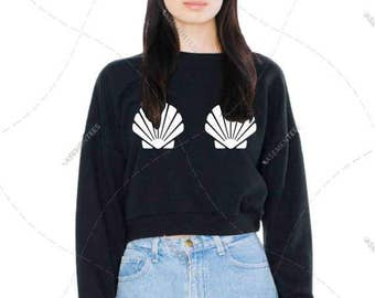 "Women - Girls - Premium Retail Fit ""Seashells"" The Classic American Apparel Cropped Sweater (S,M, L, XL) Free The Nipple, Boobs, Boobies"