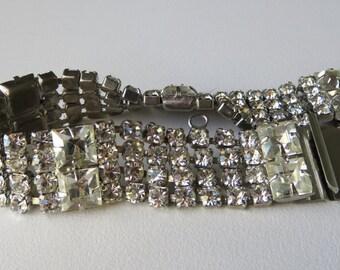 Vintage Rhinestone Bracelet 1950's Vintage Costume Jewelry Rhinestone Bracelet