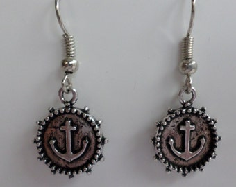 Anchor earrings antique silver