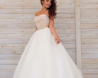 Strapless Lace Heart-shaped Neckline Tulle Floor Length Skirt