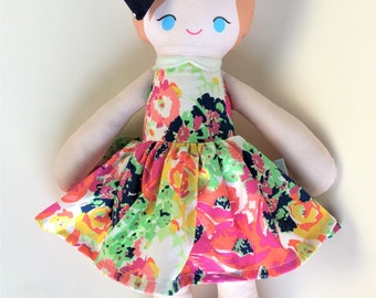 Handmade Fabric Doll in Skirted Colorful Dress and Matching Bow