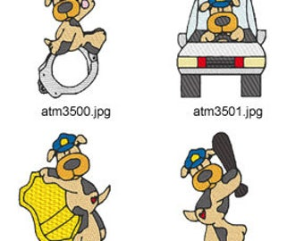 Police-Dogs ( 7 Machine Embroidery Designs from ATW ) XYZ17C
