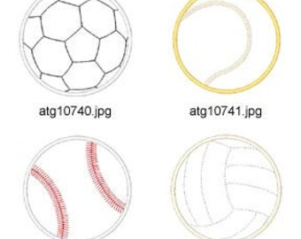 Applique-Sport-Balls ( 8 Machine Embroidery Designs from ATW ) XYZ17E