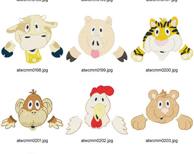 Animals-For-Baby-Bibs ( 10 Machine Embroidery Designs from ATW )