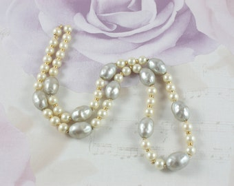 Vintage Faux Pearl Necklace - White And Grey Pearl Necklace - Long Faux Pearl Necklace - Vintage Wedding Necklace