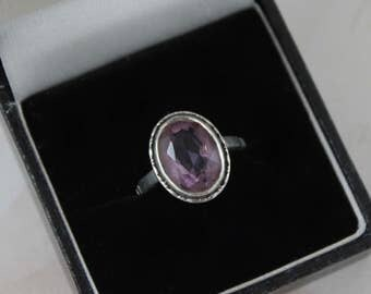 Art Deco Silver Amethyst Ring, Oval Cut Amethyst Ring, Sterling Silver Antique Ring, Vintage Art Deco Ring