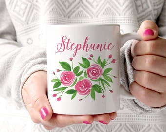 Watercolor Floral Mug - Watercolor Rose Mug - Custom Bridesmaid Gift Mug - Custom Coffee Mug - Watercolor Mug Cute Gift for Her Personalized
