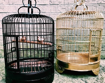Vintage Bamboo + Wood Birdcages / Gold Bird Cage / Black + Rose Gold Bird Cage