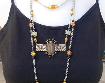 Long egyptian inspired necklace, bronze scarabeus, scarab pendant with crystal and topaz, beetle necklace, scarab jewelry, ethnical jewelry