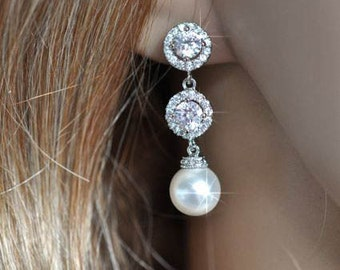 Handmade Cubic Zirconia CZ & Pearl Dangle Bridal Earrings, Bridal, Wedding (Pearl-478)