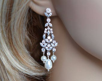 Handmade Luxe Fancy Shapes Vintage Inspired Cubic Zirconia CZ and Pearl Chandelier Dangle Earrings, Bridal, Wedding (Pearl-817)