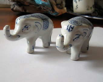 Lovely Pair of Blue & White China Elephants