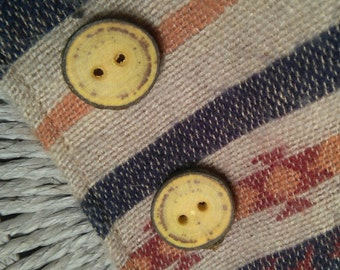 Wooden buttons, sewing buttons,  tree branch button out of Laburnum, set of two