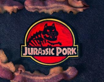 Jurassic Pork Magnet - gift, punny, dinosaur, extinct, 90s, pop culture, movies, rex, humor, dadjoke, instagram