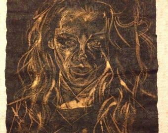 Large Modern Bleach on Tissue portrait by R J Gardham - Kristen Stewart