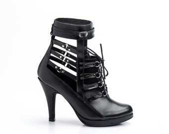 Women's black shoes/Women's High Heel shoes/ Handmade shoes/Free shipping/Fringe shoes/gifts for her