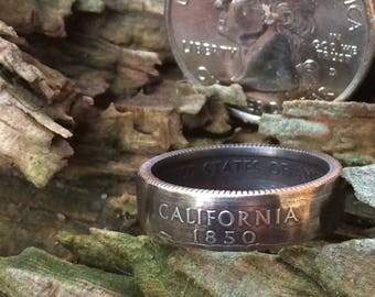 California state quarter coin ring