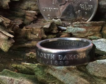 Silver North Dakota quarter coin ring