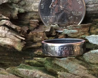 Silver Wisconsin quarter coin ring