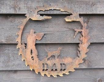 gamekeeper saw blade rusty metal art pheasant metal art dad garden decor gamekeeper - Metal Art Decor