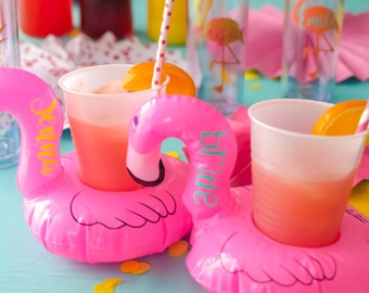 Flamingo cooler, Flamingo beverage hugger, Vegas bachelorette, Drink floats, Flamingo party, Bachelorette Party, Flamingo Cozy, floatie