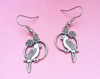 Silver parrot earrings, bird jewellery, macaw earrings, tropical jewellery, pirate gift for her