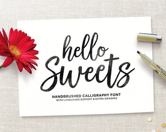 Hello Sweets Typeface, Modern Calligraphy Font, Brush Font, Handwritten Font, Digital Font Download