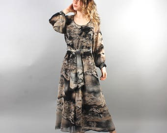 70' Gray Black Dress Maxi Dress Abstract Print Dress Dress with Lining Boho Hippie Dress Long Summer Dress Romantic Dress Size Medium