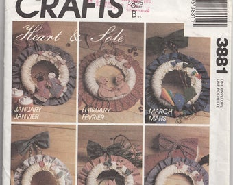 50% Off Sale! McCalls Crafts Pattern 3881 Seasonal Wreaths - A Wreath for Every Month - Heart and Sole Vintage 1980s Uncut Sewing Pattern