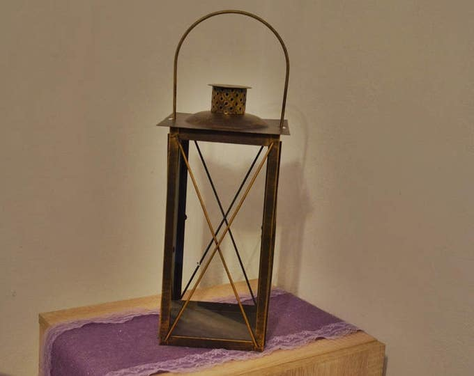 10%OFF Rustic Lantern /Metal Candle Holder /Rustic home lantern / Bronze lantern / Lanterns / wedding lantern centerpiece / rustic home ...
