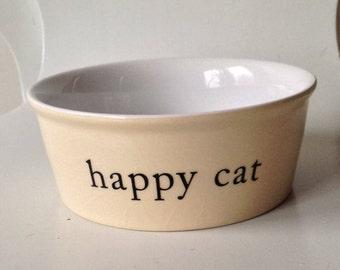Heavy Cream Colored Ceramic Cat Food Dish