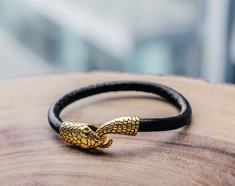 Snake bracelet, Python bracelet, Snake head, black leather bracelet, Cuff bracelet, gift for him, Gothic jewelry, ouroboros,men's jewelry
