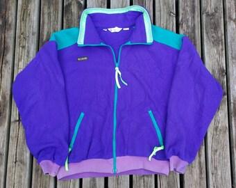 Vintage 90's Purple, Pink, Teal / Columbia / Zip Up / Polar Fleece / Neon Colourful Bright