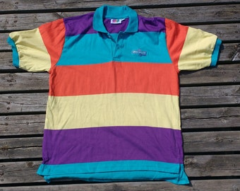Pleasantly colourful 90's Vintage Hiram Walker Polo Golf Made in USA shirt large