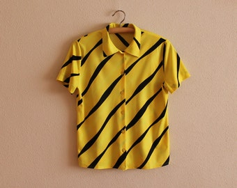 Women's Blouse Vintage Blouse Yellow Blouse Black Stripes Blouse Short Sleeve Summer Shirt Button up Bright Yellow Top
