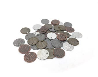 15mm Metal Hammered Disc, Round Stamping, Blanks, Circles, Charm, Pendant, 4 Colors, MF0149, MF150, MF151, MF152, RN