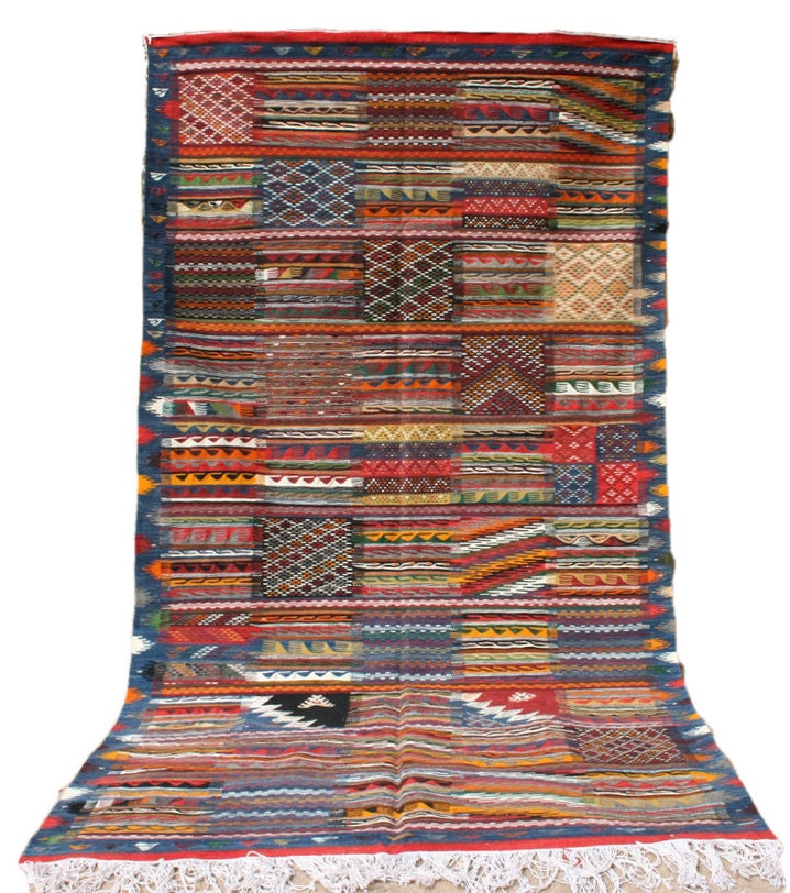 Blue area rug 5x9 red and blue rug striped rug tribal for Red and white striped area rug